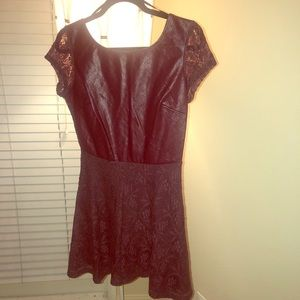 Maroon faux leather and lace dress